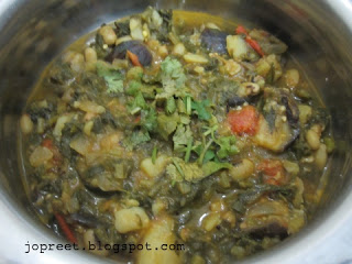 Spinach, Potato and Brinjal Curry
