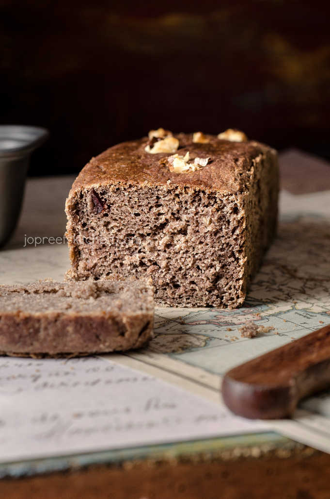 Ragi Honey Bread with Walnuts & Dried Cranberries