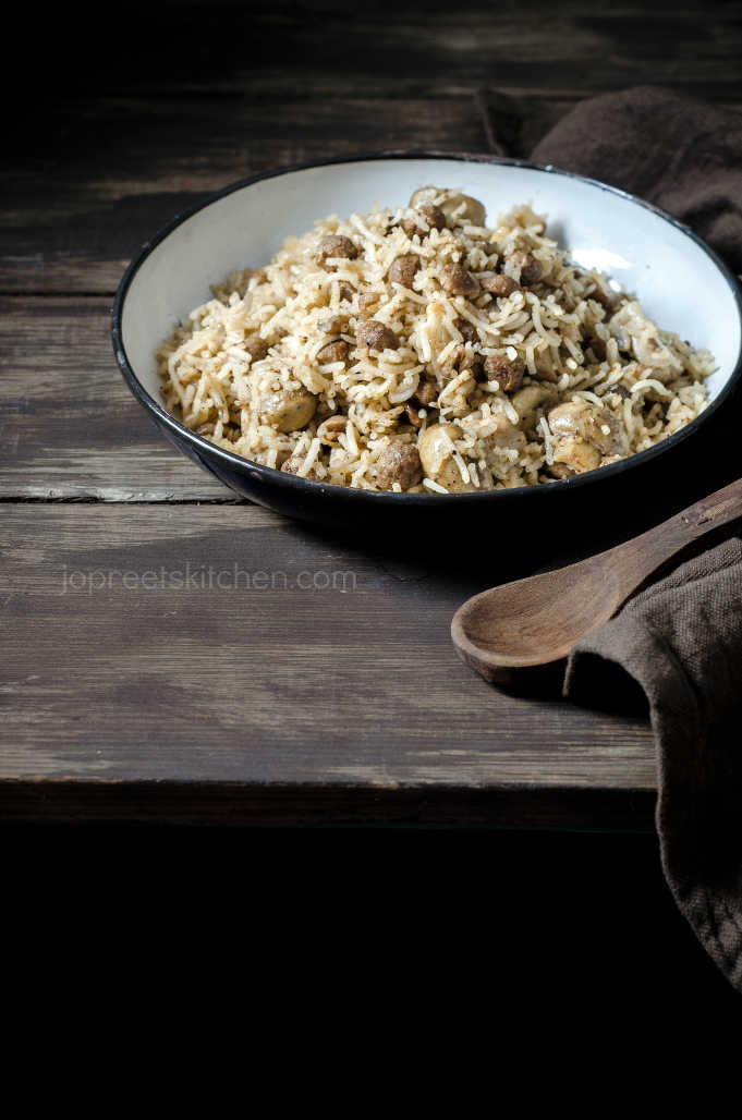 Mushroom & Soya Chunks Fried Rice