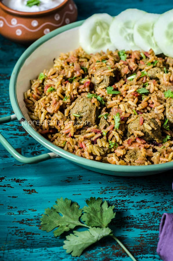 Beetroot Soya Chunks Biryani